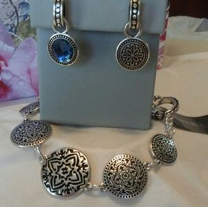 Scroll & Vine earrings bracelet set NWT